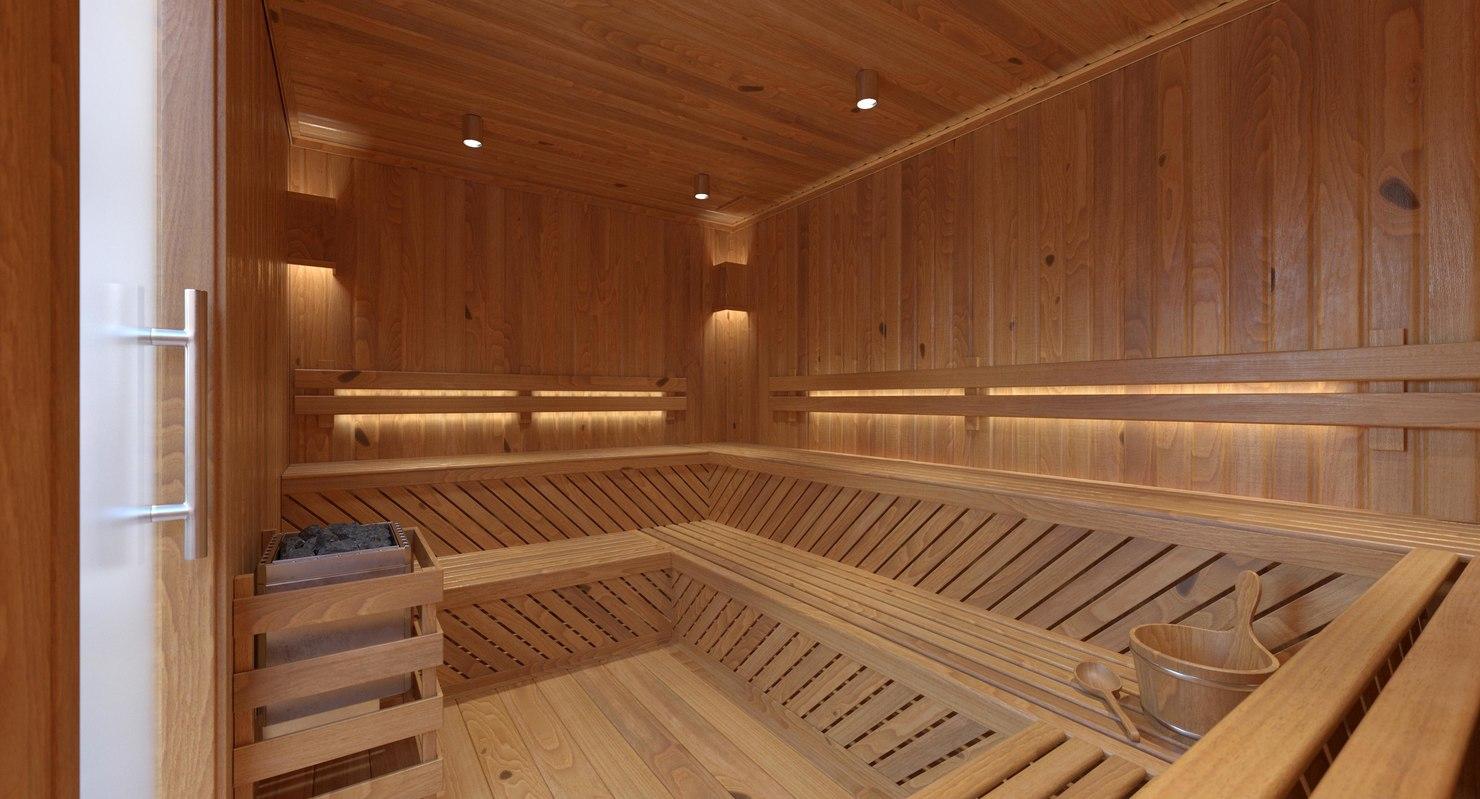 sauna room lighting 3D model