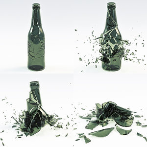 bottle crash animation 3D model