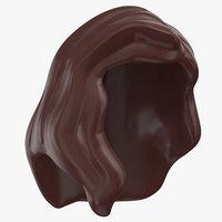 lego hair 02 dark brown 3D model