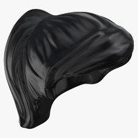 3D model lego hair 03 black