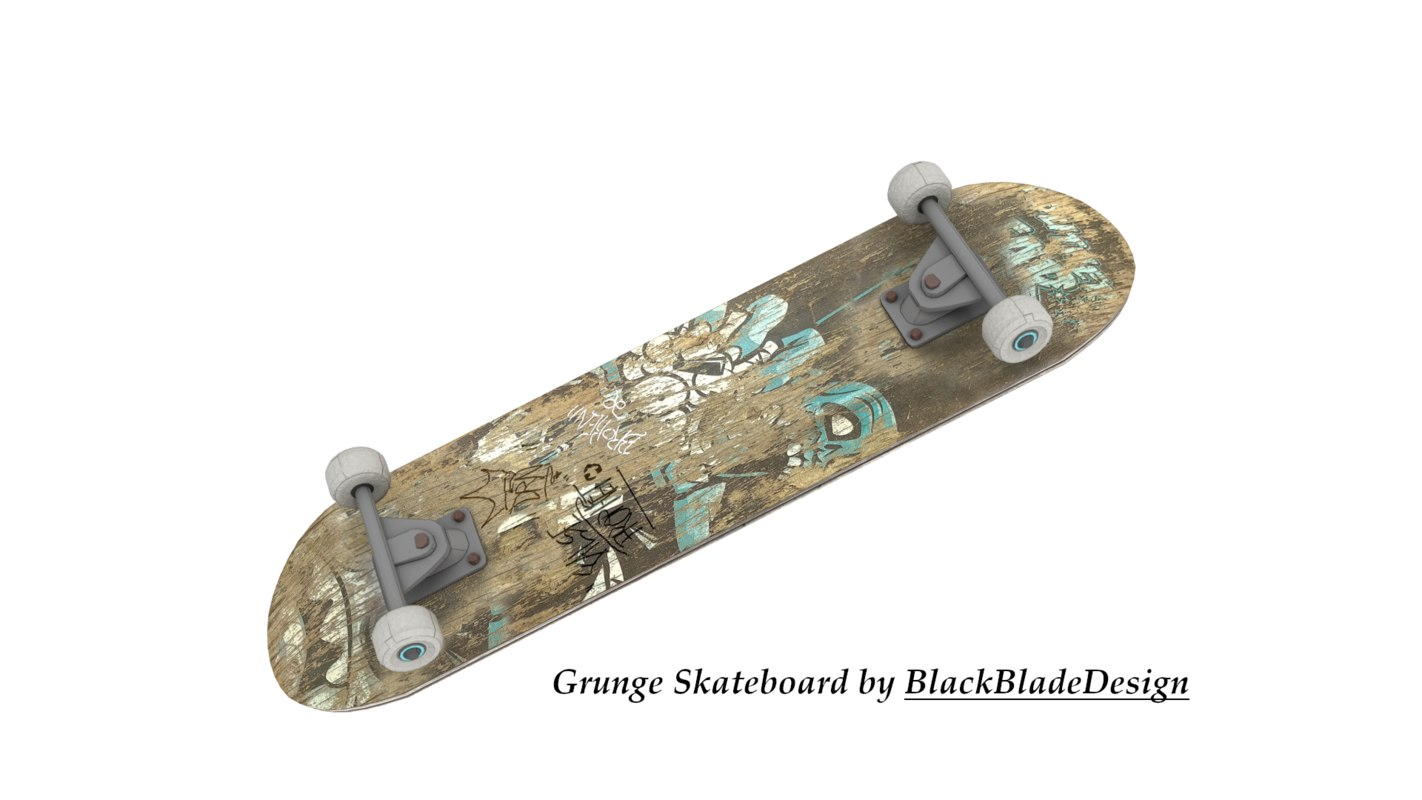 worn skateboard 3D