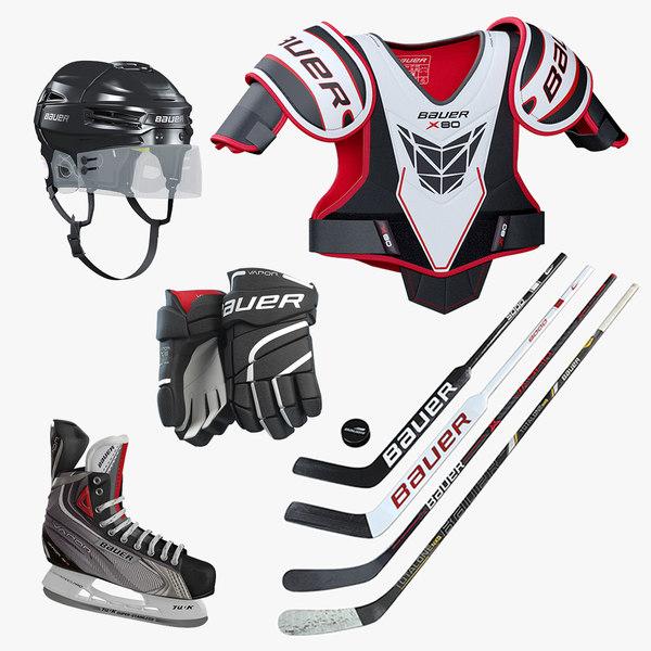 3D hockey equipment set