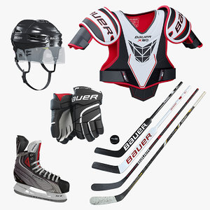 3D hockey equipment set