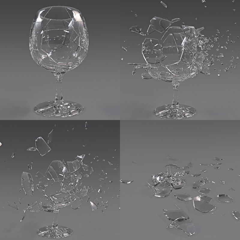 3D glass crash animation model