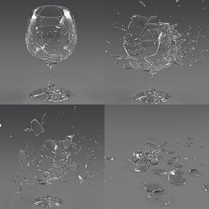 3D glass crash animation model