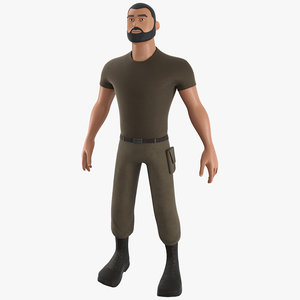 3D cartoon soldier - pbr