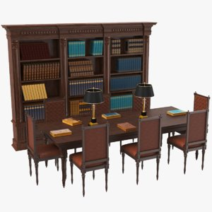 real library table books model