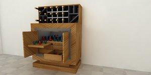 3D bar cabinet model