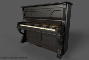3D old piano