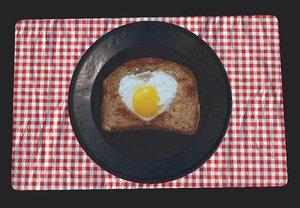 frying egg breakfast 3D model