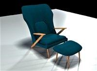 club lounge chair ottoman 3D model