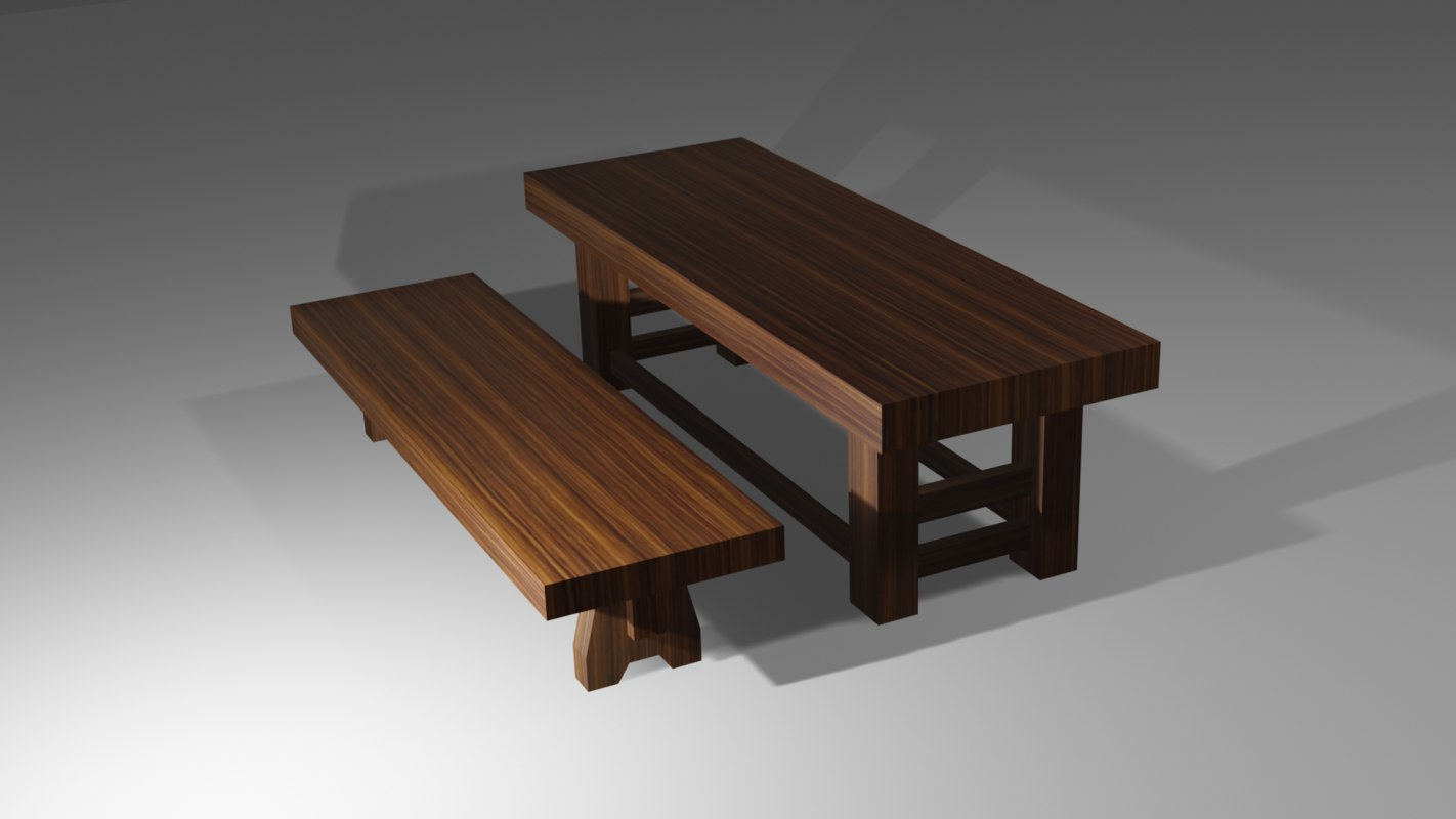 wood bench - simple model