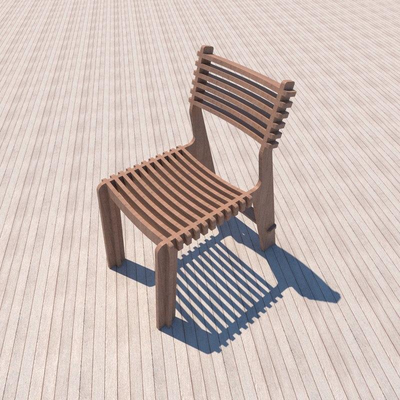 3D instruction wooden chair make model