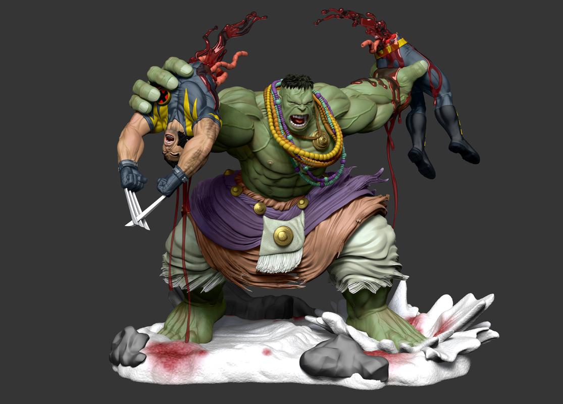wolverine vs hulk comics 3D model