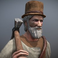 peasant villager old man 3D model