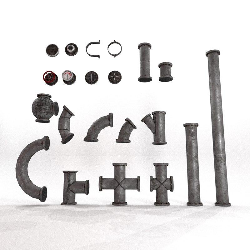3D model pipes kitbash