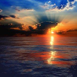 3D sunset sea