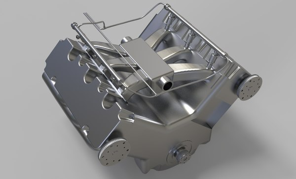 v6 car engine rigging animation 3D model