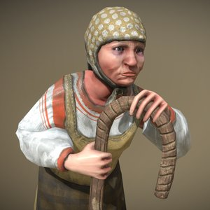 peasant villager old woman 3D model