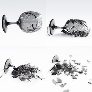 3D wineglass crash animation 2
