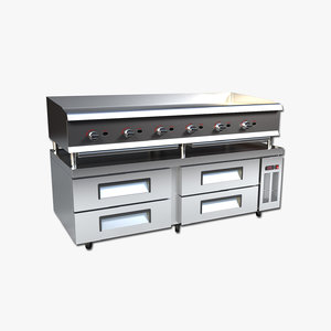 3D commercial griddle model