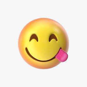 emoji 11 face savoring 3D model