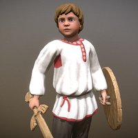 3D peasant villager boy character model