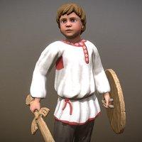 3D peasant villager boy character model
