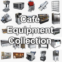 3D commercial cafe kitchen equipment