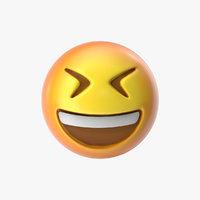 emoji 8 grinning squinting 3D model