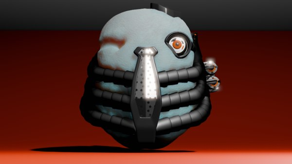 3D alien cyborg head
