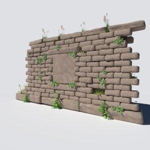 overgrown wall 3D model