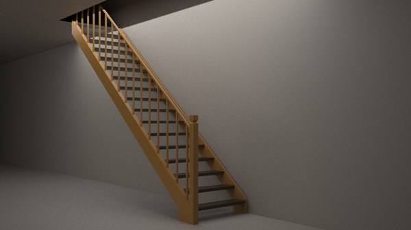 3D wood stairs