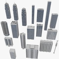 buildings kitbash condominiums skyscrapers 3D model