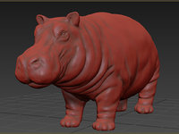 3D model hippo animation