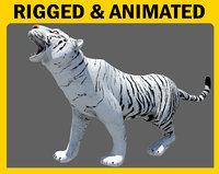 white tiger animation walk 3D model