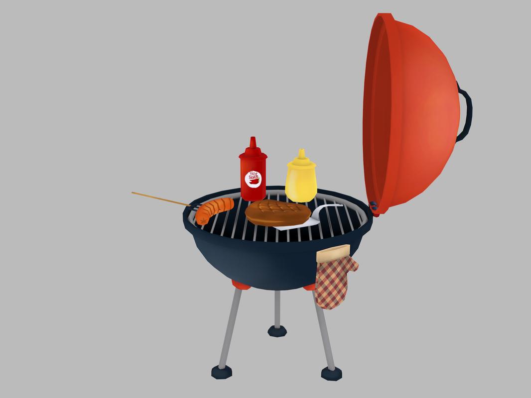 barbeque sausages meat 3D model