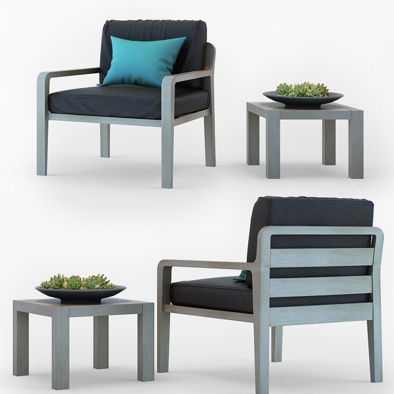 3D model armchair coffee table