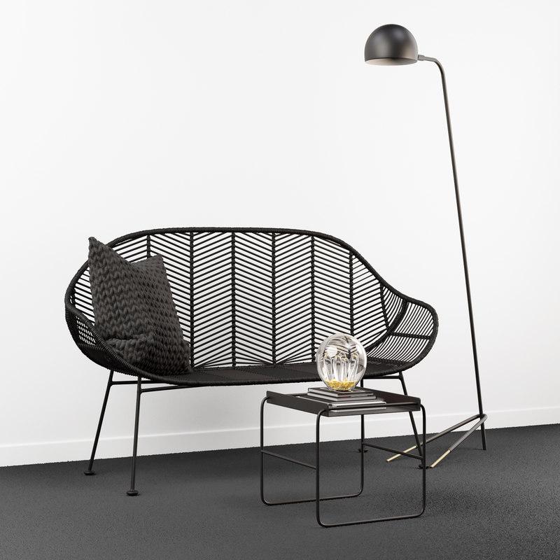 3D black rattan bench