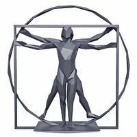 The Vitruvian Man Sculpture Low Poly