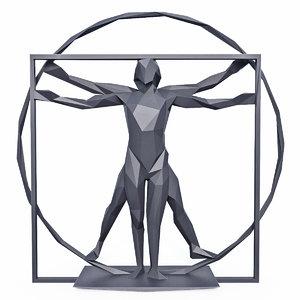vitruvian man sculpture 3D