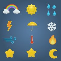 Weather Icons and Cartoon stars