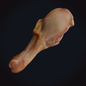 3D cooked chicken leg drumstick model