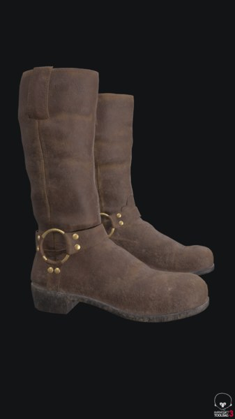 3D model brown boot leather