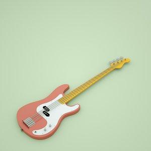 3D classic bass guitar
