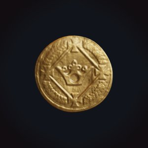 medieval gold coin 3D