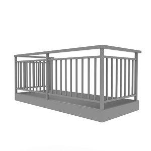 balcony terrace architecture 3D model
