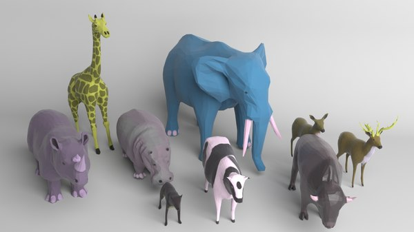 pack 9 animals cow 3D