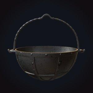 3D medieval cauldron 1 model