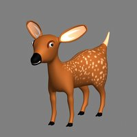 Fawn 3D Model Cartoon